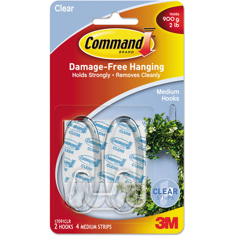 Command Clear Hooks and Strips, Plastic, Medium, 2 Hooks with 4 Adhesive Strips per Pack