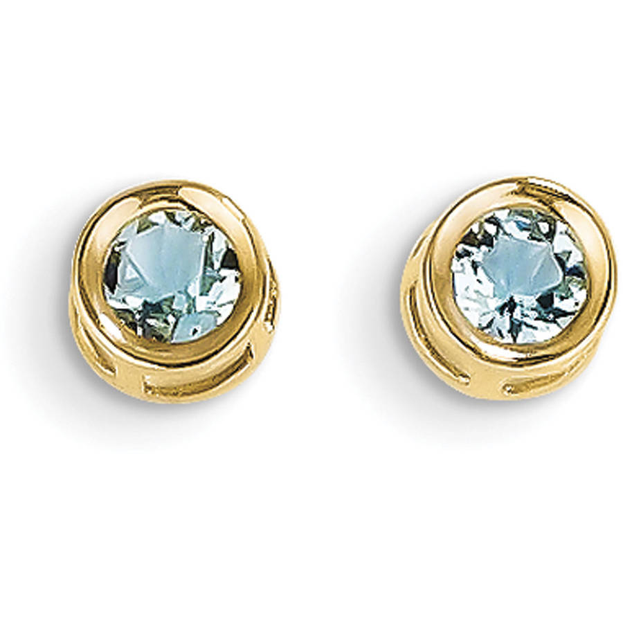 Aquamarine 14kt Yellow Gold 4mm Bezel March Post Earrings