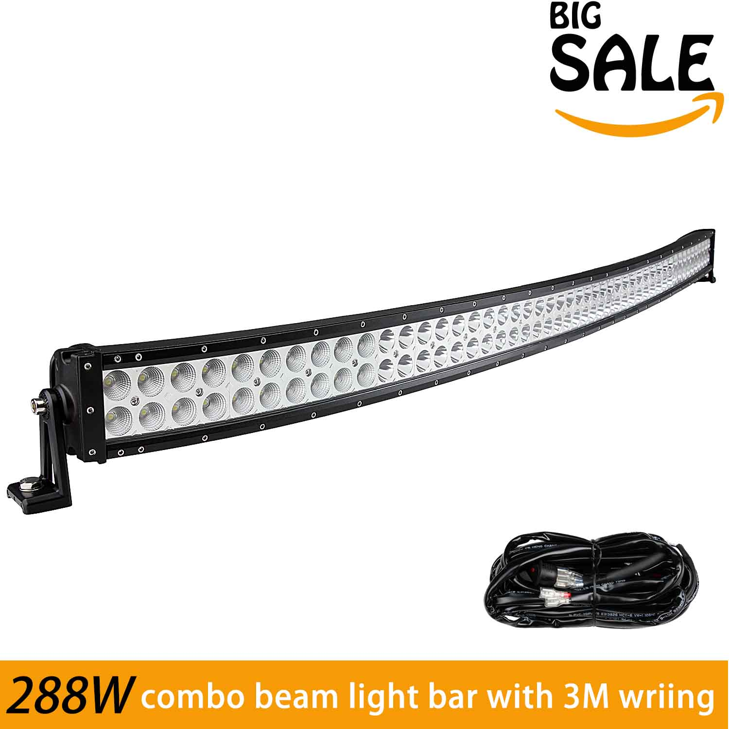 "Phenas Curved 50"" Inch Led Light Bar 288W 17280LM Combo Beam + 3 LEAD Remote Control Wiring Harness Kit Fit... by Phenas"
