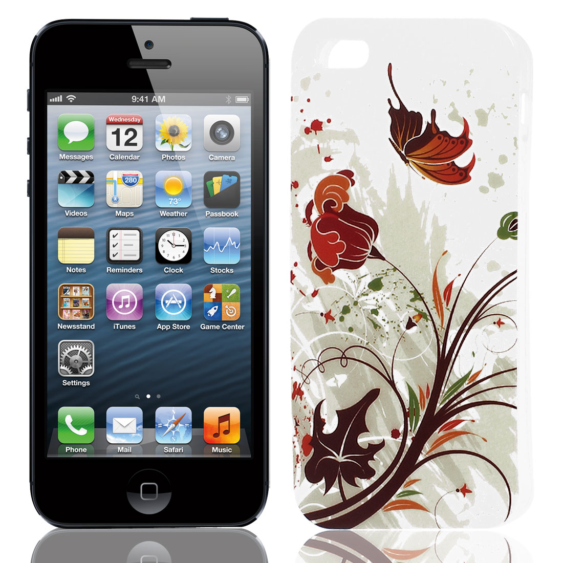 Butterfly Flower Print Soft TPU Protect Case Cover Brown White for iPhone 5 5S
