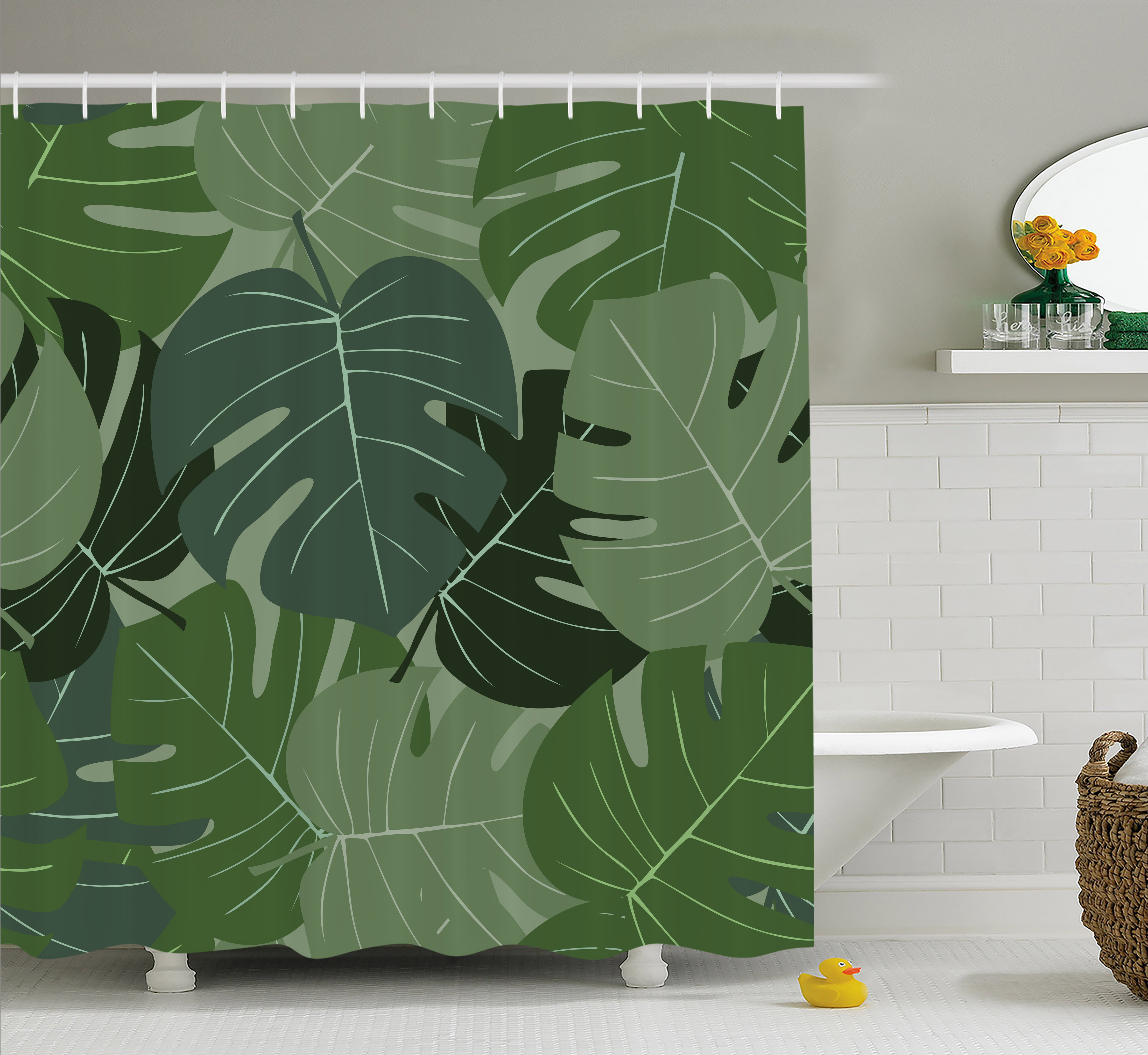 Forest Green Shower Curtain Camouflage Pattern Of Palm Leaves Tropical Nature Themed Foliage Fabric Bathroom Set With Hooks 69W X 75L Inches Long