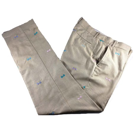 Bobby Jones Flat Front Khaki Bow Tie Size 32 Golf Pants