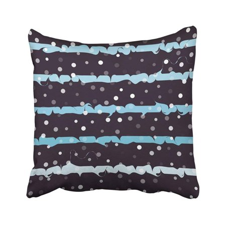ARTJIA Winter With Stripes And Dots Snow Fall And Wavy Blue Lines Marbled Ink Curly Strokes Pillowcase Throw Pillow Cover Case 16x16 (Strike Snow)