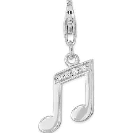 Leslies Fine Jewelry Designer 925 Sterling Silver with CZ Music Note Lobster Clasp Pendant Gift