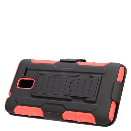 Insten Car Armor Hard Hybrid Plastic Silicone Stand Case with Holster For Kyocera Hydro View - Black/Red