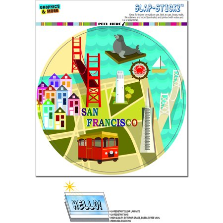 San Francisco   Golden Gate Bridge Bay Transamerica Pyramid Pier 39 Coit Tower Sea Lion Circle Slap Stickz Tm  Premium Sticker
