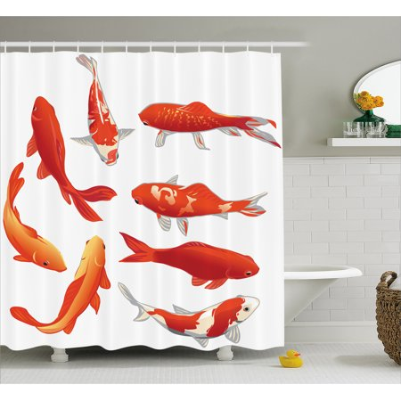 Ocean Animal Decor Shower Curtain  Legendary Koi Fish Band Chinese Good Fortune And Power Icon Tranquil   Fabric Bathroom Set With Hooks  69W X 84L Inches Extra Long  Orange White  By Ambesonne