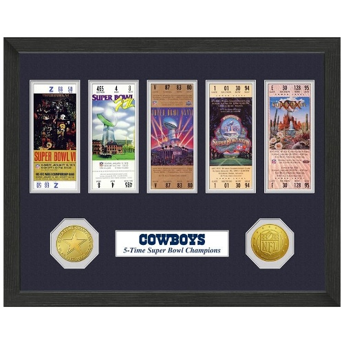 NFL Framed Wall Art by The Highland Mint, Dallas Cowboys - Super Bowl Championship Ticket