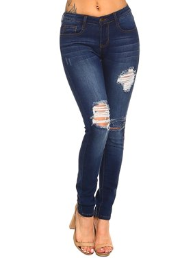 5cbcec8645 Product Image Womens Distressed Holes Knee Cut Skinny Slim Fit Denim Pants  Jeans MP-2-0345