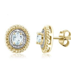 1/4 Carat T.G.W. Aquamarine and White Diamond Accent 14k Gold Over Silver Earrings