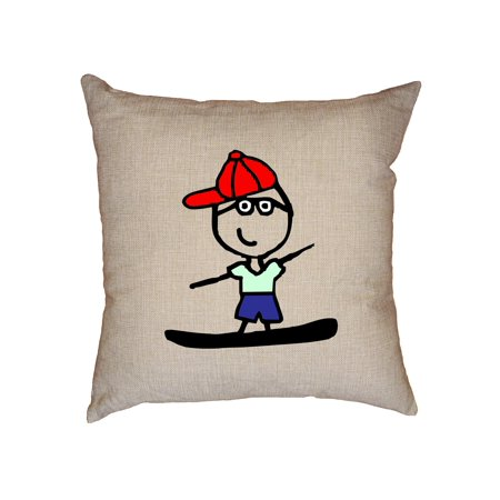Funny Trendy Cartoon Snowboarder Skinny Legs Decorative Linen Throw Fascinating Long Skinny Decorative Pillows