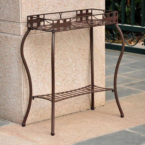 International Caravan 3561 Santa Fe Outdoor Nailhead Rectangular Plant Stand by Brand New