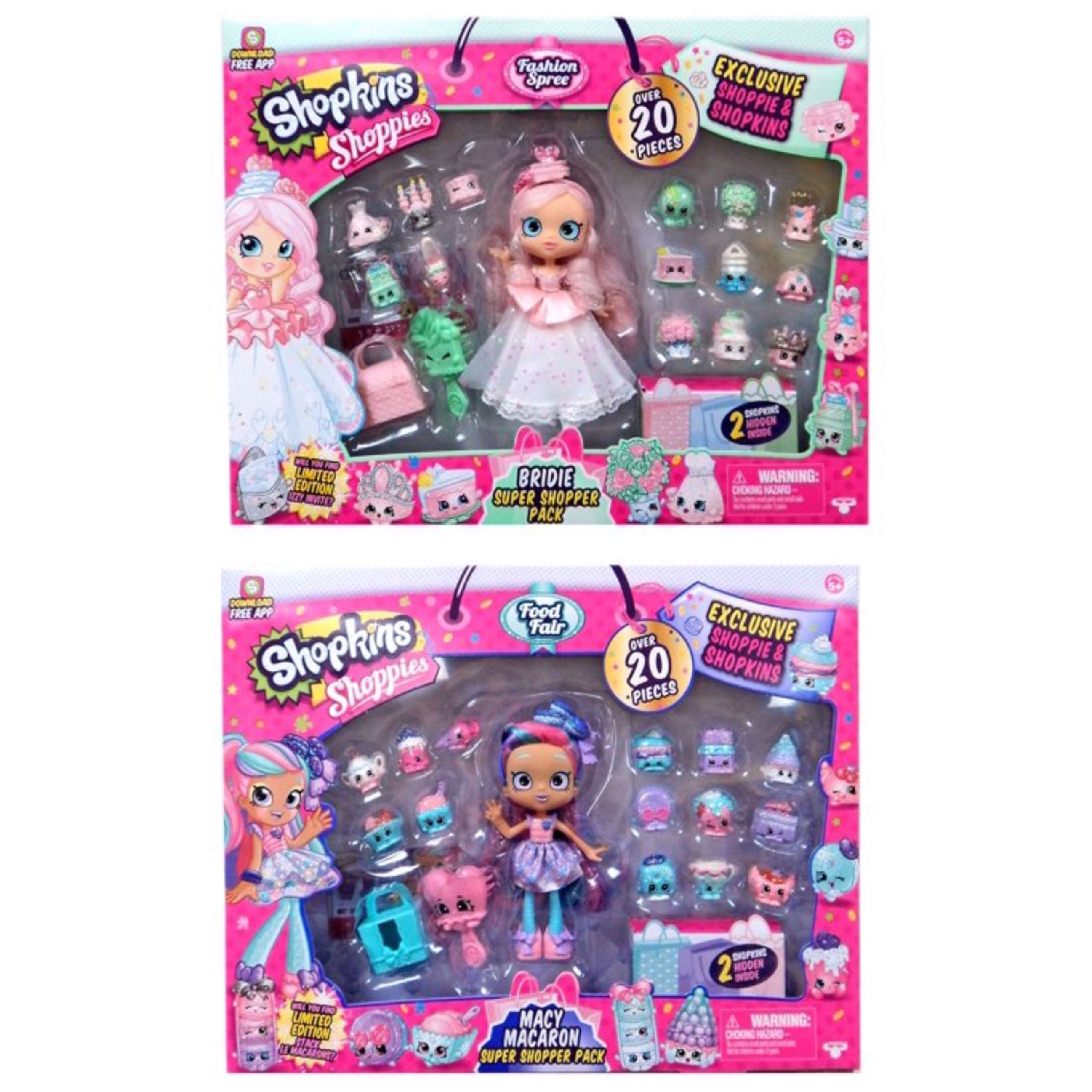 Shopkins Shopper Pack Macy Macaron and Bridie Shoppies Doll Bundle