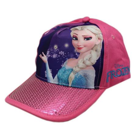 Disney's Frozen Princess Elsa Pink and Purple Colored Sparkly Bill Velcro Snapback - Princess Hats
