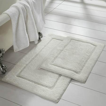 2 Pack Non Slip Soft Cotton Bath Rug Set In White Com