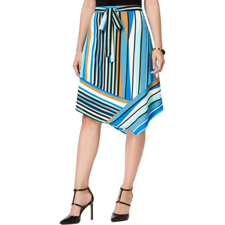 NY Collection Womens Striped Stretch Asymmetrical Skirt Blue S