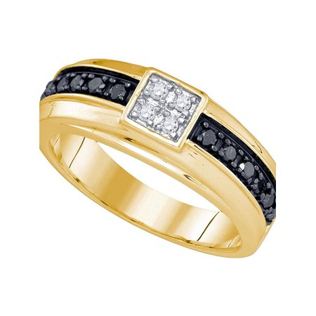 10kt Yellow Gold Mens Round Black Color Enhanced Diamond Cluster Wedding Band Ring 3/8 Cttw Diamond Fine Jewelry Ideal Gifts For Mens Gift Set From Heart