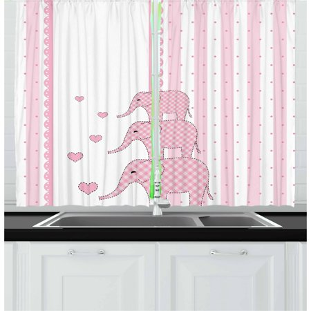 Elephant Nursery Curtains 2 Panels Set, Vertical Striped Backdrop with Cute Pink Animals with Hearts Retro, Window Drapes for Living Room Bedroom, 55W X 39L Inches, Pale Pink White, by Ambesonne ()