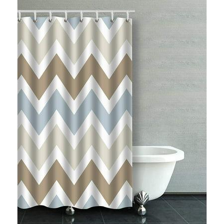 ARTJIA Smoky Blue Gray Tan Brown Chevron Pattern Bathroom Shower Curtain 36x72 Inches