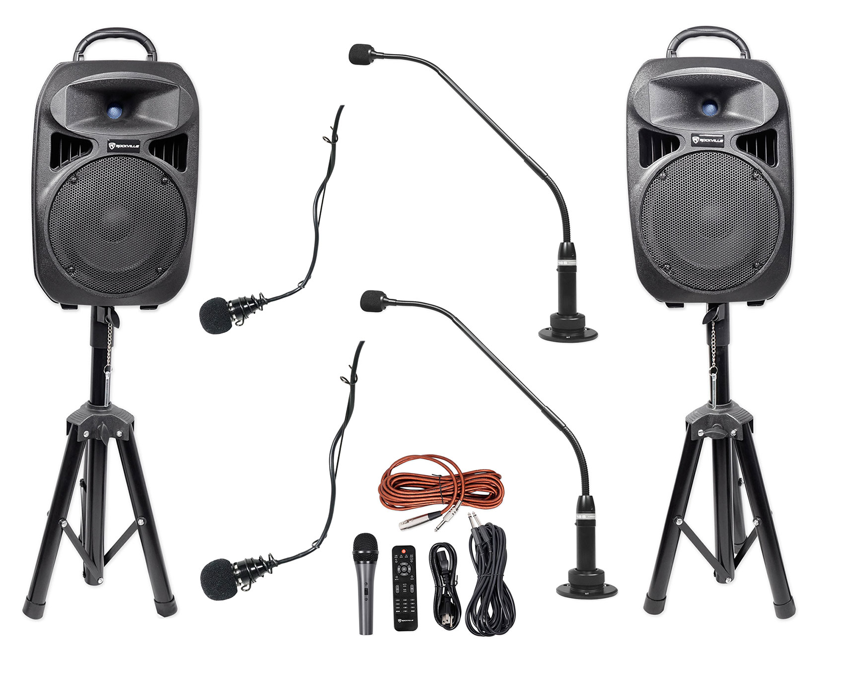 (2) Peavey Black Podium+(2) Choir Microphones+Speakers for Church Sound  Systems
