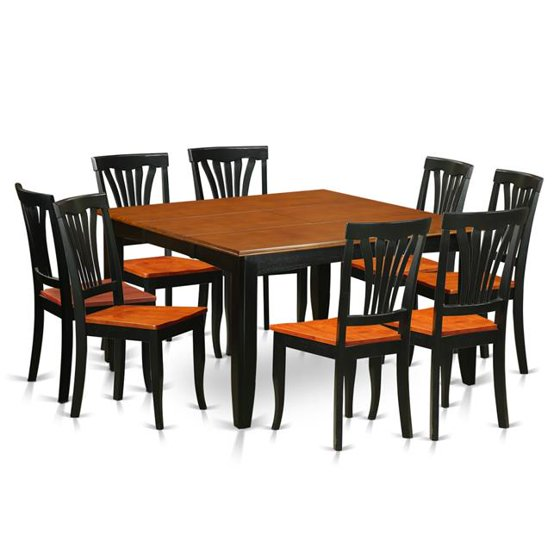Wood Seat Dining Room Set - Table & 8 Wooden Chair, Black & Cherry - 9 Piece
