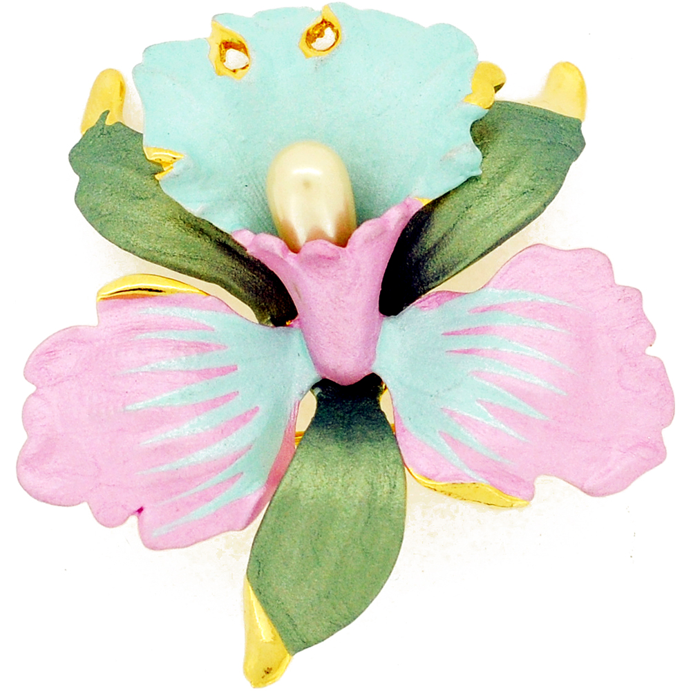 Light Green And Pink Orchid Swarovski Crystal Flower Pin Brooch by