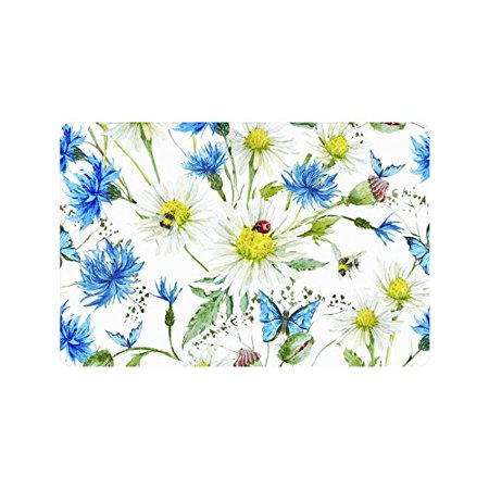 MKHERT Summer Watercolor Ladybug Butterfly Floral Dais Doormat Rug Home Decor Floor Mat Bath Mat 23.6x15.7 inch