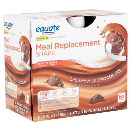 Equate Meal Replacement Shake, Creamy Milk Chocolate, 11 Fl Oz, 6 Ct (Shake Die)