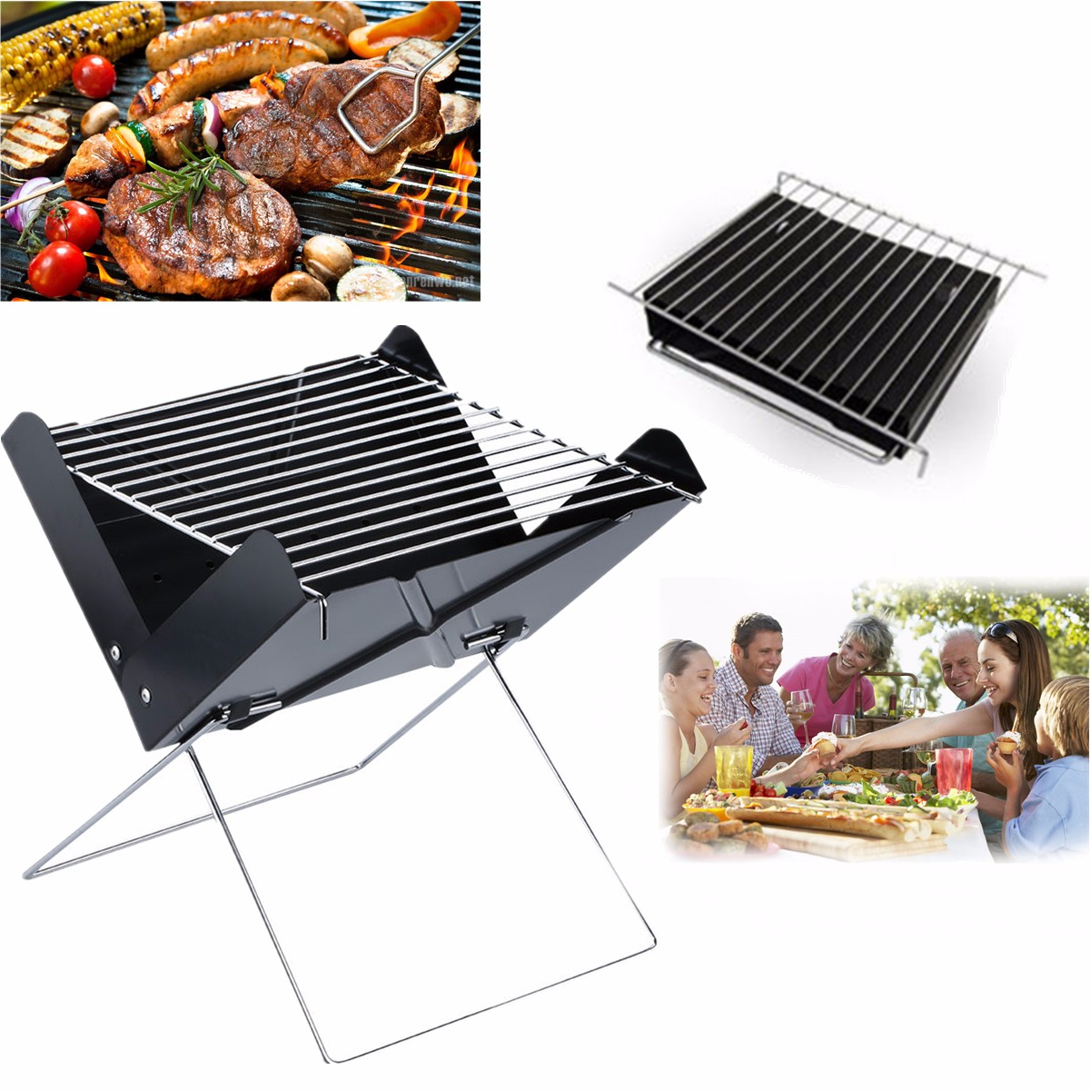 Portable Folding Charcoal Barbecue Oven BBQ Grill Garden Outdoor Picnic Camping