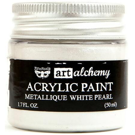 Pearl Acrylics (Finnabair Art Alchemy Acrylic Paint 1.7 Fluid Ounces Metallique White Pearl )