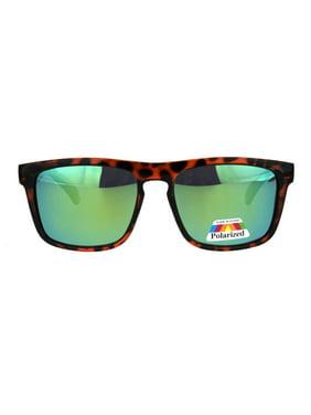 f2f4b668ec Product Image Mens Polarized Mirror Lens Rectangular Keyhole Light Weight  Plastic Sunglasses Black Blue
