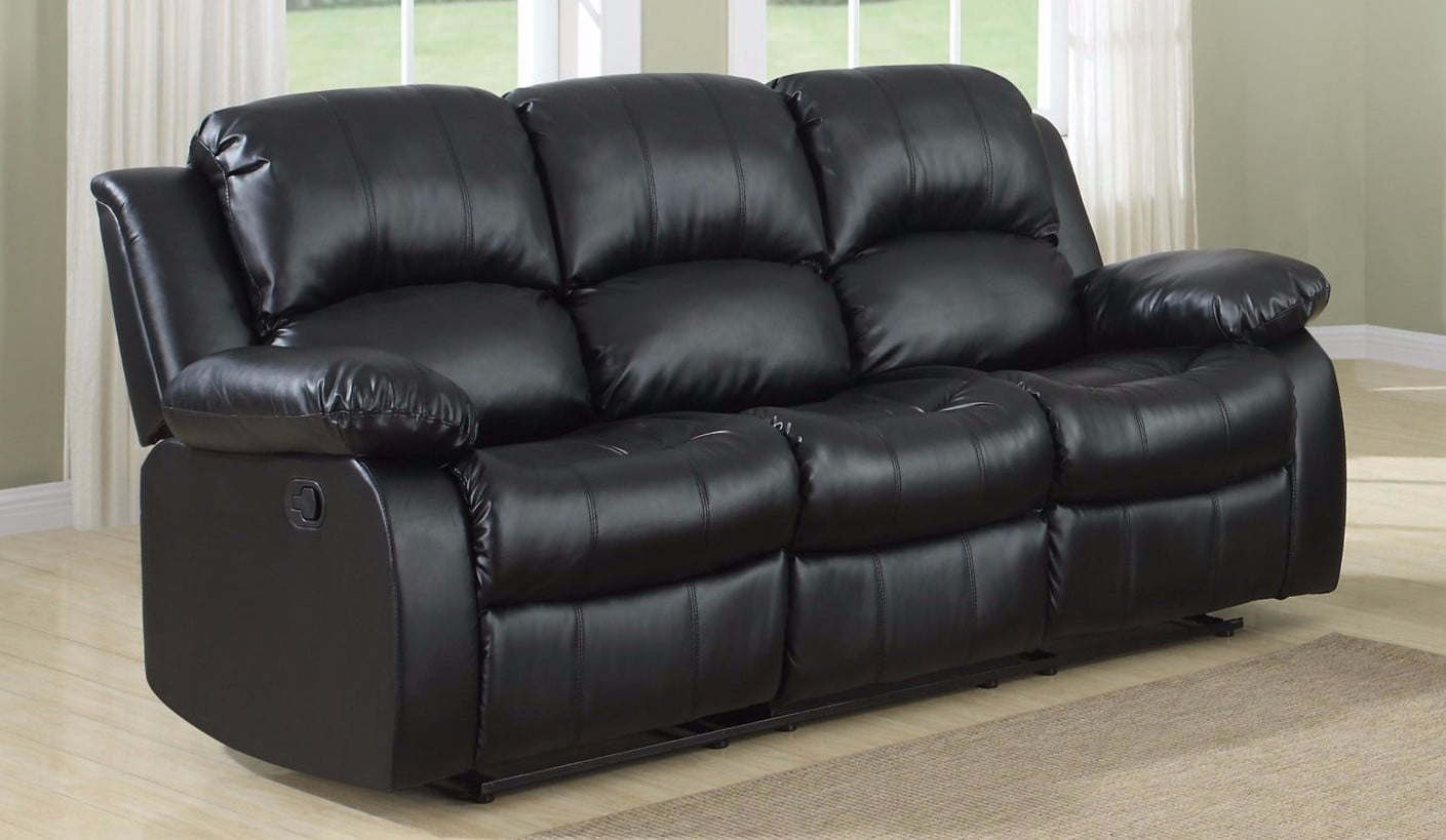 Used black leather couch 3 seater n 2-seater for sale in San ...