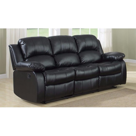 Milano Leather Recliner Sofa: Classic 3 Seat Bonded Leather Double Recliner Sofa