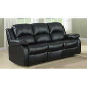 Clic 3 Seat Bonded Leather Double Recliner Sofa