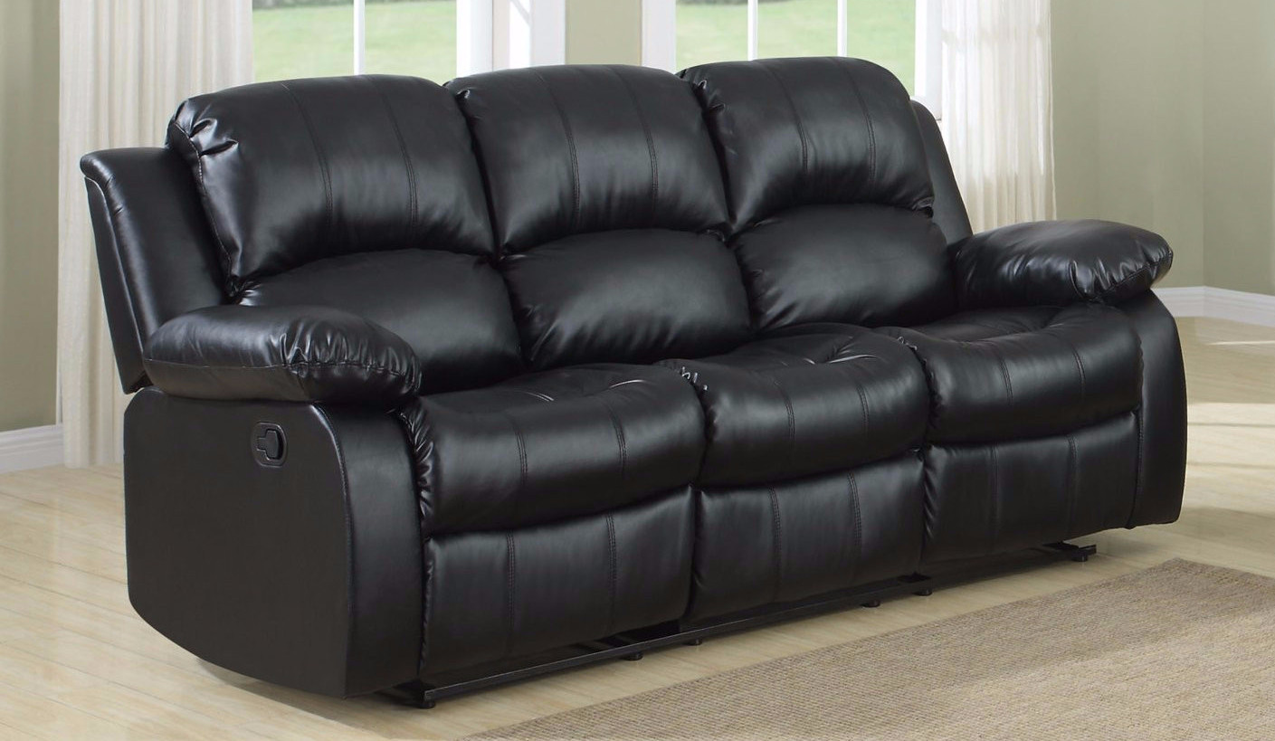 Classic 3 Seat Bonded Leather Double Recliner Sofa