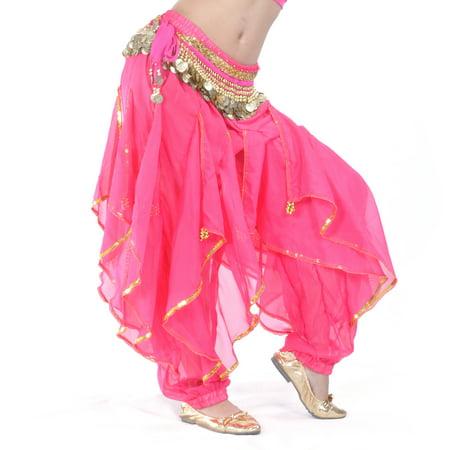 BellyLady Belly Dance Harem Pants Tribal Baggy Arabic Halloween Pants-ROSERED](Halloween Rocker Pants)