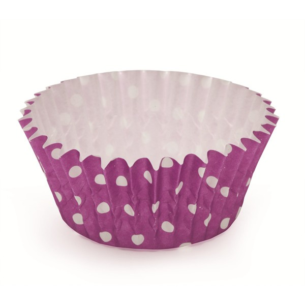 2Dia. x 1.2H Ruffled Cupcake Cup Polka Dot Purple,Case of 1800