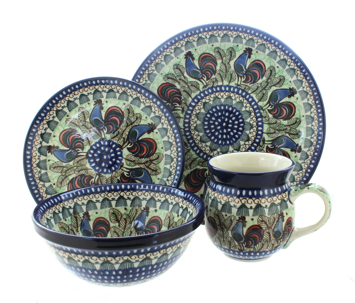 Polish Pottery Rooster Row 16 Piece Dinner Set  sc 1 st  Walmart.com & Rooster Dinnerware