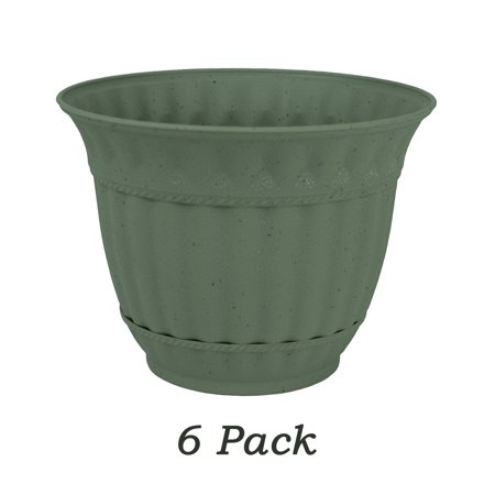 6 Pack 6 Inch Plastic Flower Pot Gray Stone Decorative Attached Saucer Garden -