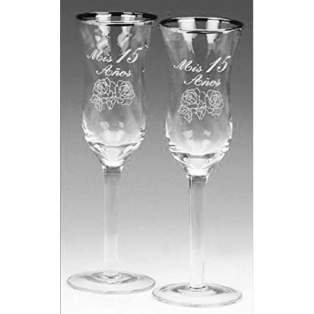 Mis Quince Años Toasting Champagne Glass Silver Cups Quinceanera Copas