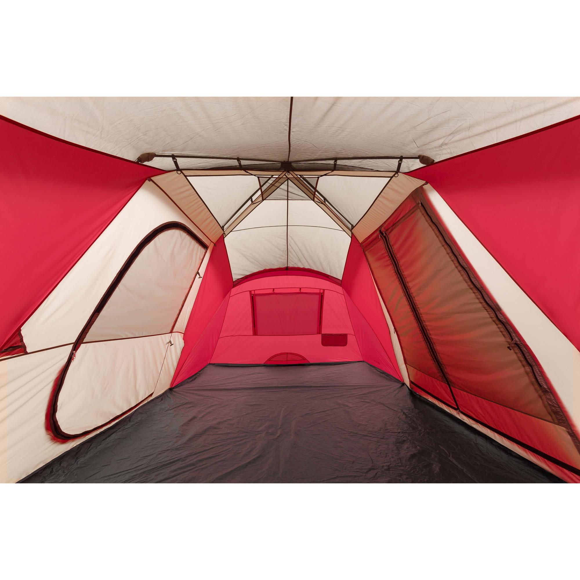 Ozark Trail 21u0027 X 10u0027 3 Room Instant Tent With Awning, Sleeps 12, Red    Walmart.com