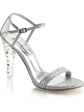 316ab5ee34b Product Image Womens Silver Glitter Heels Ankle Strap Sandals Closed Back 4  1 2 Inch Shoe. SummitFashions