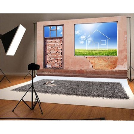 GreenDecor Polyester Photography Background 7x5ft Backdrop New Home Concept Square Window Holes Wall 3D Style Weathered Brick Wall Door Wonderland Window View S