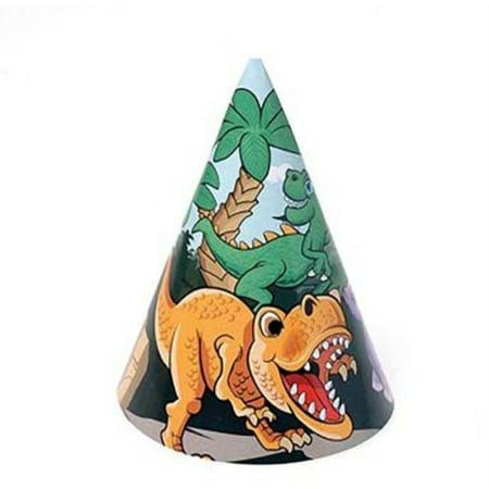 Dozen Dinosaur Dino Paper Birthday Party Hats With Chin Straps