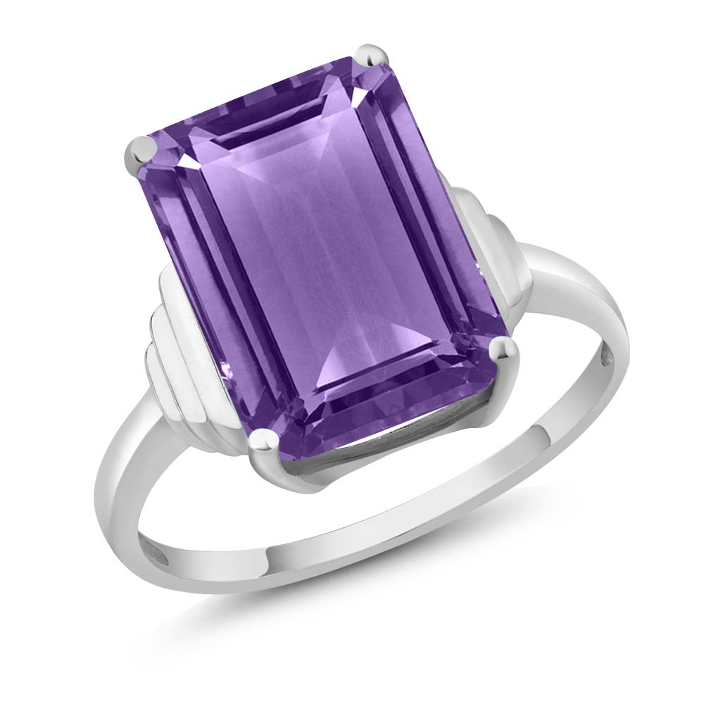 7.10 Ct Emerald Cut Purple Amethyst 925 Sterling Silver Women's Ring