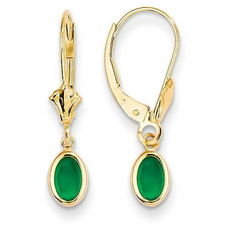 14k YG Genuine Oval Bezel May Emerald Leverback Dangle Earrings 23mm x