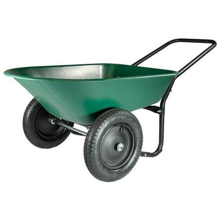 5 cu ft. Green & Black Poly Wheelbarrow Yard Rover