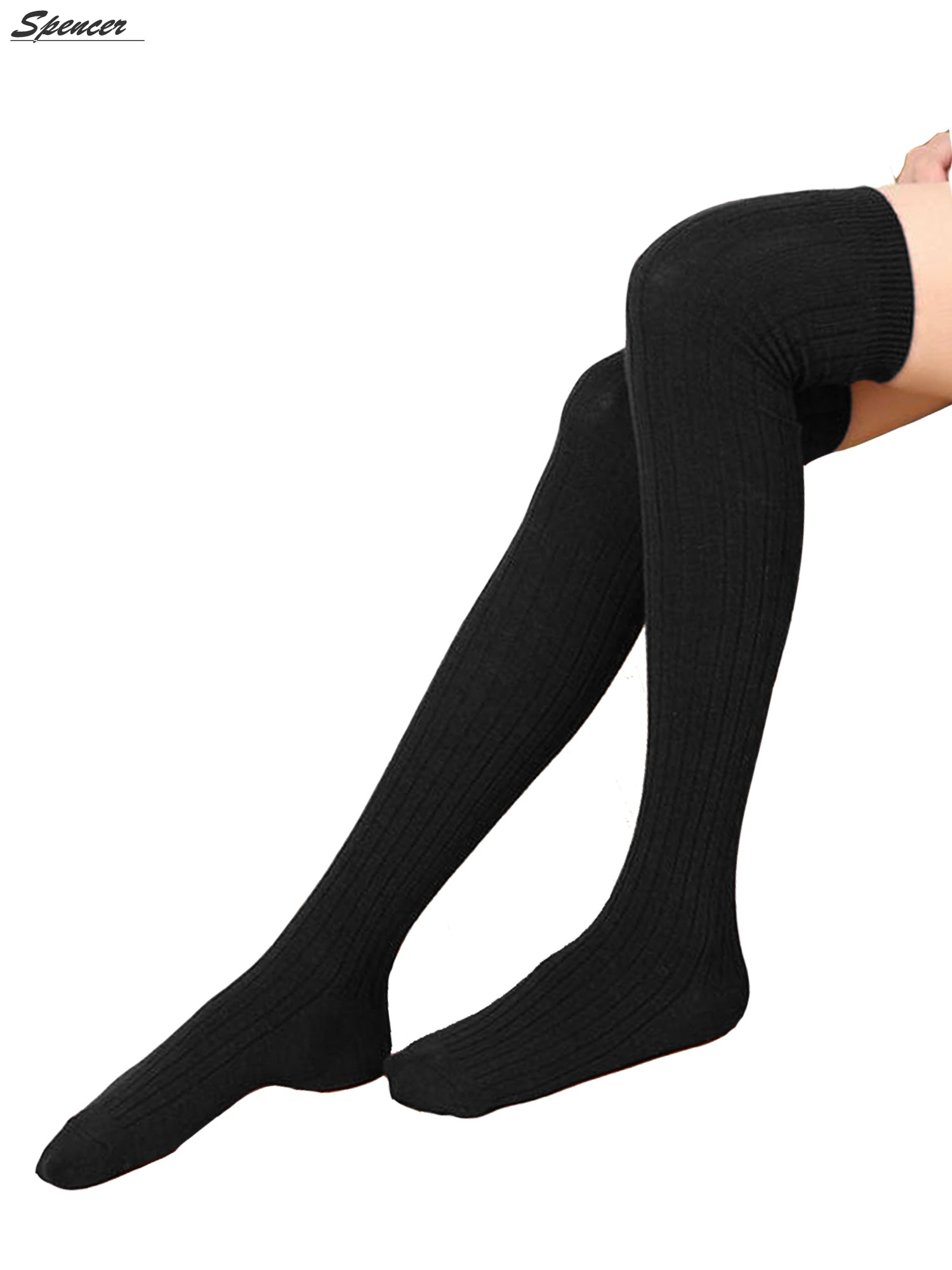 5fbc15c5537ec Spencer - Spencer Women Thigh High Socks Over the Knee Leg Warmer Tall Long  Boot Knit Stocking Girls Leggings