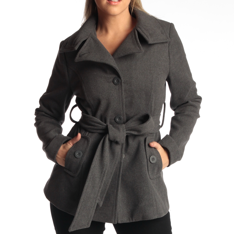 Alpine Swiss Bella Women&39s Belted Blazer Button Up Wool Coat