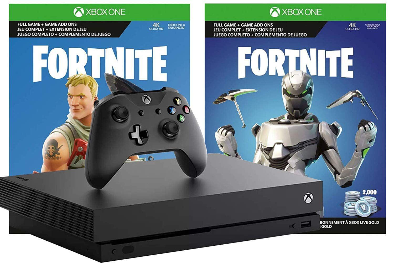 Microsoft Xbox One X Fortnite True 4k Epic Bundle 2 000 V Bucks Legendary Rare Eon Cosmetic Set And Xbox One X 1tb Console 4k Hdr With 4k Ultra Hd Blu Ray Walmart Com